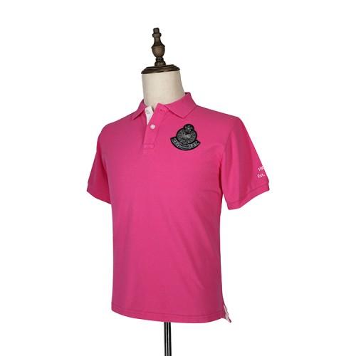 刺繡警徽粉色POLO衫